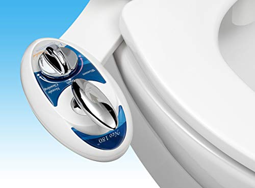Luxe Bidet Neo 180 Non-Electric Bidet Toilet Attachment w/ Self-cleaning Dual Nozzle and Adjustable Water Pressure for Sanitary and Feminine Wash (Blue and White) w/ Lever Control