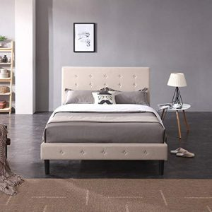 Classic Brands Cambridge Upholstered Platform Bed | Headboard and Metal Frame with Wood Slat Support, Queen, Linen