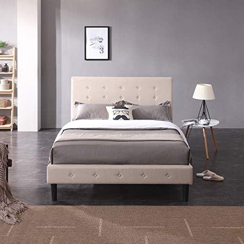 Classic Brands Cambridge Upholstered Platform Bed   Headboard and Metal Frame with Wood Slat Support, Queen, Linen