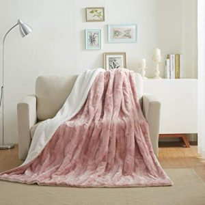 Tache 63x87 Luxury Faux Fur Light Blush Dusty Rose Gold Pink Super Soft Warm Throw Blanket Twin Size