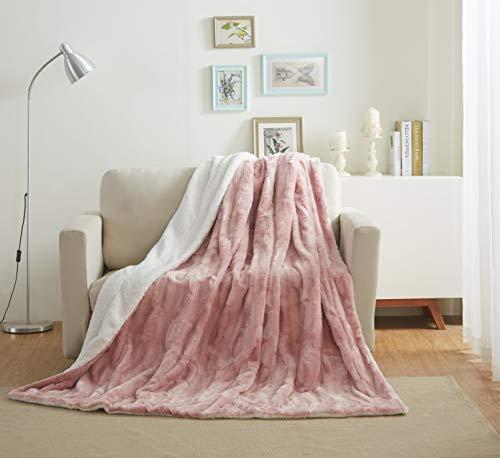 Tache 63x87 Luxury Faux Fur Light Blush Dusty Rose Gold Pink Super Soft Warm Throw Blanket Twin Size