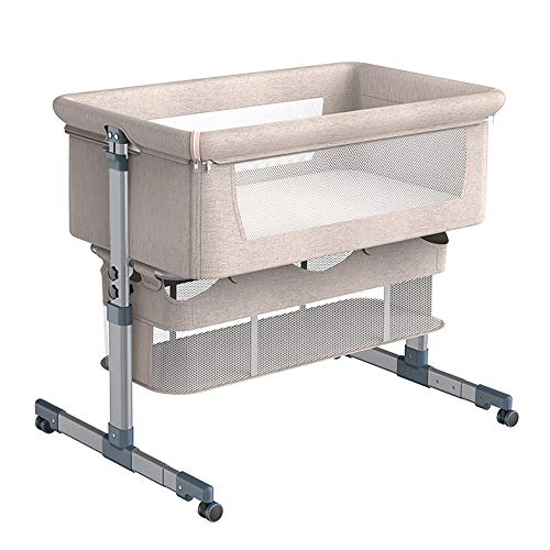 Bedside Crib for Baby, Easy Folding Co-Sleeper with Mattress Included, AMKE Height Adjustable Baby Bassinet for Newborn Infant, White