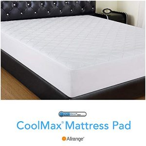 "Allrange Coolmax Fiber Hypoallergenic Quilted Mattress Pad, Coolmax and Cotton Fabric Cover, Snug Fit Stretchy to 18"" Deep Pocket, Polyester Fill, Mattress Protector, White, Twin XL"