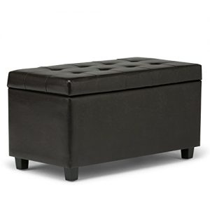 Simpli Home Cosmopolitan 34 inch Wide Rectangle Lift Top Storage Ottoman in Upholstered Tanners Brown Tufted Faux Leather, Footrest Stool, Coffee Table for the Living Room, Bedroom and Kids Room