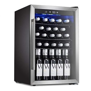 Antarctic Star 36 Bottle Wine Cooler/Cabinet Beverage Refigerator Mini Fridge Small Wine Cellar Soda Beer Counter Top Bar Quiet Operation Compressor Digital Freestanding Clear Glass Door for Office/Dorm Silver