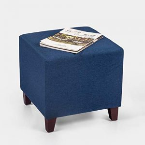 Adeco Simple British Style Cube Footstool Ottoman bench foot rest, 16x16x16, Blue