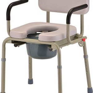 NOVA Medical Products Drop Arm Commode with Padded Seat and Back, Drop Down Arms for Easy Transfer, Stand Alone Bed Side Commode and Over The Toilet Commode, Comes with Bucket, Lid and Slash Guard