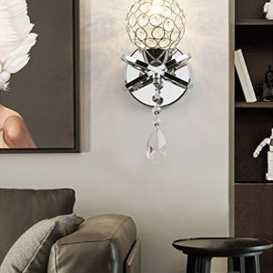 Modern Chrome Finish Luxury LED Crystal Wall Sconce, Yosoan K9 Acrylic Silver Light Lamp Fixture Fitting Bedside, Living Rooms, Dining Rooms, Kids Room, Bedrooms, Hallways