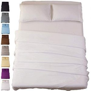 SONORO KATE Bed Sheet Set Super Soft Microfiber 1800 Thread Count Luxury Egyptian Sheets 16-Inch Deep Pocket Wrinkle and Hypoallergenic-4 Piece(Queen White) …