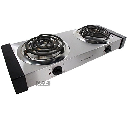 Electric Stove Double Burners Countertop Portable Stainless Steel Body Cool Touch Panels