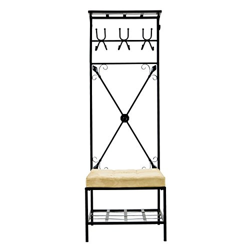 """SEI Furniture Entryway Bench and Storage Rack - 72.5"""" Tall w/Black Finish - 12 Hook Design"""