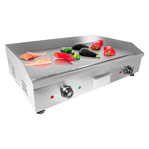 "ALDKitchen Flat Top Griddle | Teppanyaki Grill with Double Thermostat | Manual Control | 29.00"" x 18.00"" 