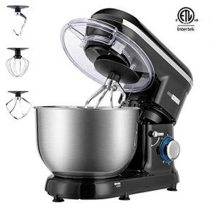 VIVOHOME Stand Mixer, 650W 6 Speed 6 Quart Tilt-Head Kitchen Electric Food Mixer with Beater, Dough Hook and Wire Whip, ETL Listed, Black