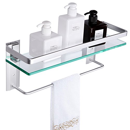 Vdomus Tempered Glass Bathroom Shelf with Towel Bar Wall Mounted Shower storage15.2 by 4.5 inches, Brushed Silver Finish (1 Tier Glass Shelf)