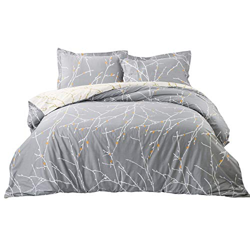Bedsure Luxury Printed Duvet Cover Set Modern Microfiber with Zipper Closure and Corner Ties Grey Ivory Branch Pattern Full Queen Size 86x96 inches with Two Pillow Sham Soft Unique