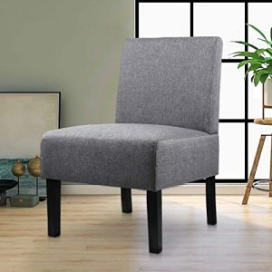 Modern Fabric Armless Accent Chair Decorative Slipper Chair Vanity Chair for Bedroom Desk, Corner Side Chair Living Room Furniture Grey (1, Grey)