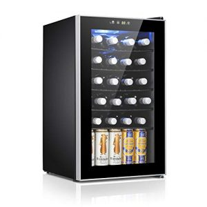 Antarctic Star 24 Bottle Wine Cooler/Cabinet Beverage Refigerator Mini Fridge Small Wine Cellar Soda Beer Counter Top Bar Quiet Operation Compressor Digital Freestanding Clear Glass Door for Office/Dorm