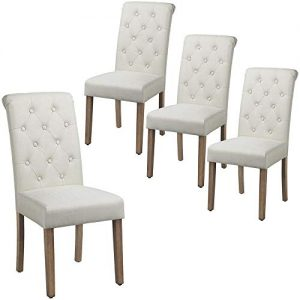 Yaheetech Dining Chairs Dining Room Chair Living Room Side Chairs Tufted Parsons Chairs with Solid Wood Legs for Hotel, Restaurants, Wedding Banquet, Meeting, Celebration Beige, Set of 4
