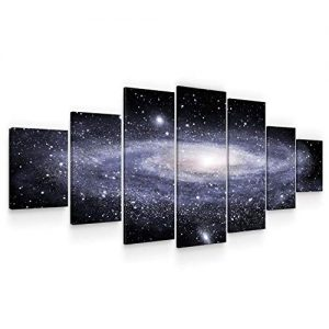 Startonight Huge Canvas Wall Art Spiral Galaxy - Large Framed Set of 7 40 x 95 Inches