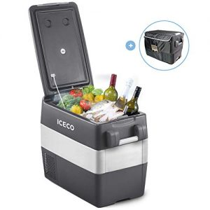 ICECO JP50 Portable Refrigerator Fridge Freezer, 12V Cooler Refrigerator, 50 Liters Compact Refrigerator with Secop Compressor, for Car & Home Use, 0℉~50℉, DC 12/24V, AC 110/240V