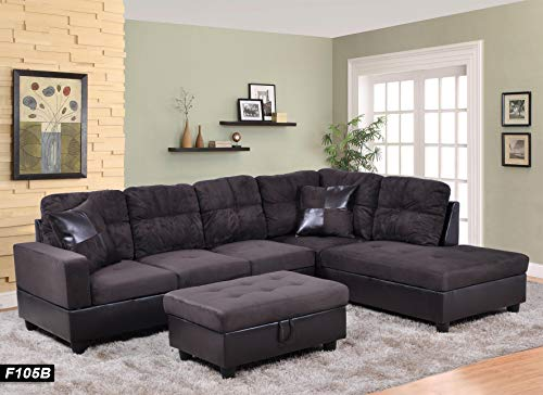 Ainehome 3 PCS Living Room Set, Sectional Sofa Set, Sectional Sofa in Home, with Storage Ottoman and Matching Pillows (Right Hand Facing, Espresso#1)