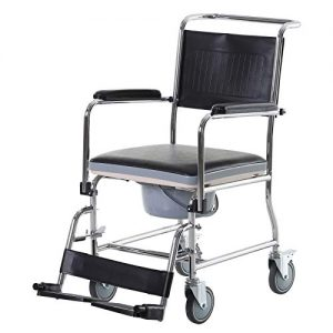 HomCom Personal Mobility Assist Bedside Commode Toilet Chair with Large Detachable Bucket & Wheelchair Design, Black