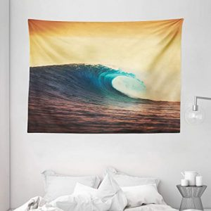 "Ambesonne Ocean Tapestry, Ocean Breaking Wave at Sunset in Warm Colors Sea Seasonal Picture Art, Wide Wall Hanging for Bedroom Living Room Dorm, 80"" X 60"", Turquoise Yellow"