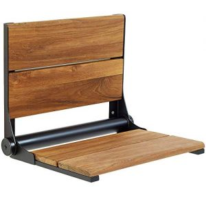 Lifeline Teak Wood Folding Shower Seat - Wall Mounted Bench/Bathroom Safety & Mobility Aid/Easy to Fold Down/Seniors & Disabled/ADA Compliant/304 Stainless Steel/Black Matte Frame/26 x 16 inch