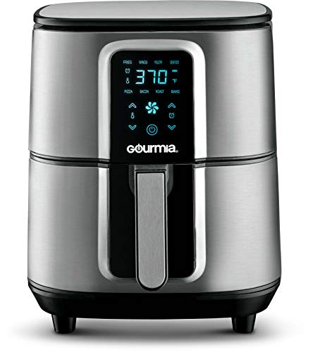 Gourmia GAF735 Stainless Steel Digital Air Fryer- No Oil Healthy Frying - Display with 8 Presets - 1700 Watt - 7 Qt Pan with Pop-out Basket - Recipe Book Included