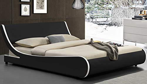Amolife Modern Full Platform Bed Frame with Adjustable Headboard,Mattress Foundation Deluxe Solid Faux Leather Bed Frame with Wood Slat Support (Black with White Border, Full)