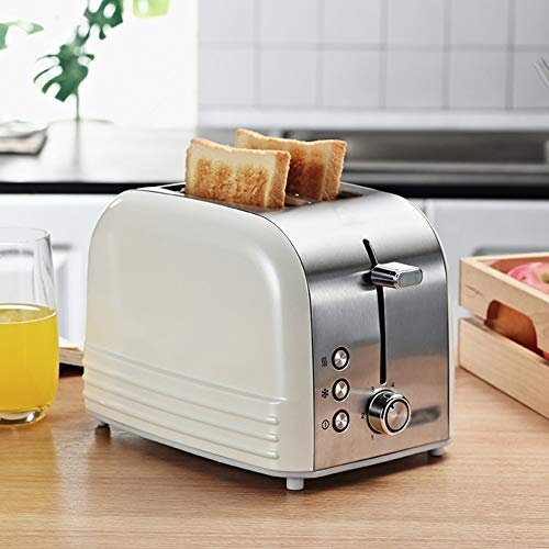 2-Slice Wide Slot Toaster,Stainless Steel Bread Toaster,6 Bread Shade Settings,Toaster with Cancel Defrost Reheat Settings White 25.5cm