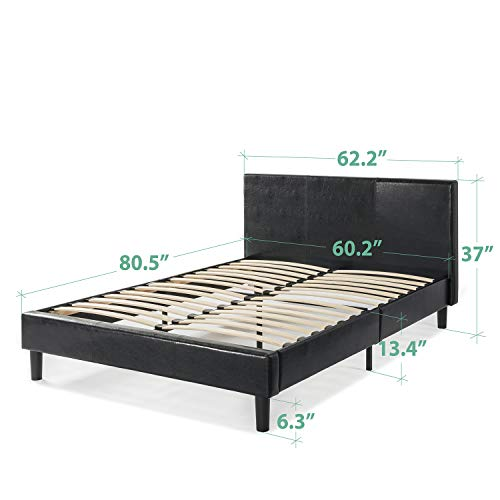 Zinus Jade Faux Leather Upholstered Platform Bed / Mattress Foundation Bundle Dimensions: 84.2 x 62.eight x 37.zero inches
