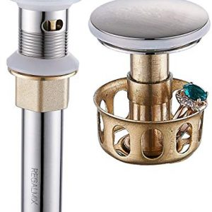 "REGALMIX Vessel Sink Drain, Bathroom Faucet Vessel Sink Pop Up Drain Stopper, Built-In Anti-Clogging Strainer, Brushed Nickel with Overflow,Fits Standard American Drain Hole(1-1/2"" to 1-3/4"") R086J-BN"