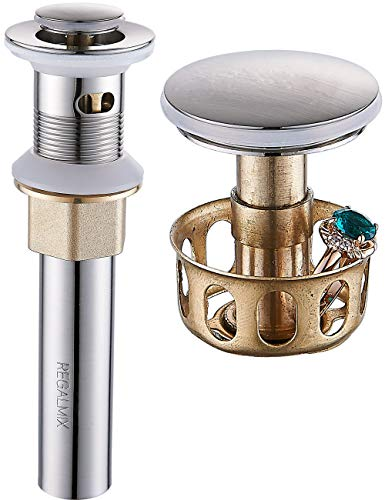 """REGALMIX Vessel Sink Drain, Bathroom Faucet Vessel Sink Pop Up Drain Stopper, Built-In Anti-Clogging Strainer, Brushed Nickel with Overflow,Fits Standard American Drain Hole(1-1/2"""" to 1-3/4"""") R086J-BN"""