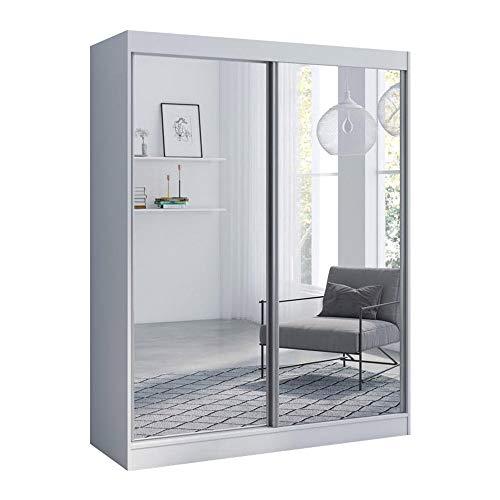 "Aria 2 Door 59"" Wide Modern High Gloss Wardrobe Armoire (White with Mirror/Mirror)"
