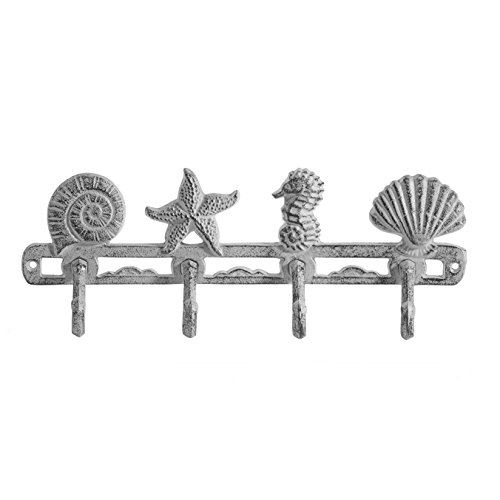 Comfify Vintage Seashell Coat Hook Hanger Rustic Cast Iron Wall Hanger w/ 4 Decorative Hooks - Includes Screws and Anchors - in Antique White - Beach House Decor