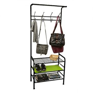 Mind Reader Metal Coat, Shoe Rack, Purses, Scarf, Shelving Organizer, Black
