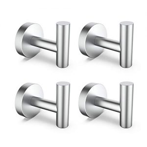 HomGif Towel Robe Hook Wall Mount for Bathroom SUS 304 Stainless Steel Brushed Finish (Silver, 4)