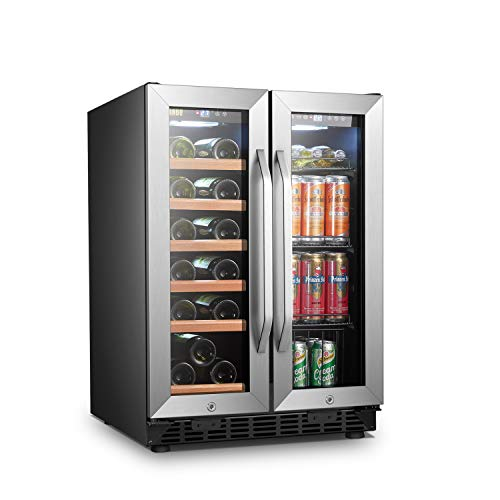 Lanbo Wine and Beverage Refrigerator, Built-in Wine and Drink Center, 18 Bottle and 55 Can