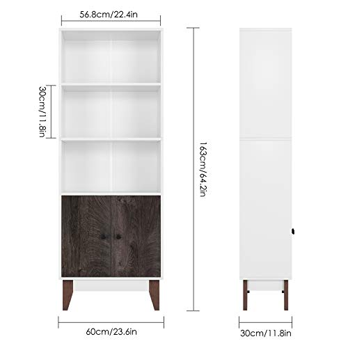 Homfa 4 Tier Bookcase Storage Cabinet, 64.2 in Height Wooden Bookshelf Bundle Dimensions: 22.four x 11.eight x 64.2 inches