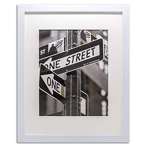 The Display Guys 11x14 Pine Wood Picture Frame with 8x10 Acid-Free Mat & Tempered Glass (Matte White)