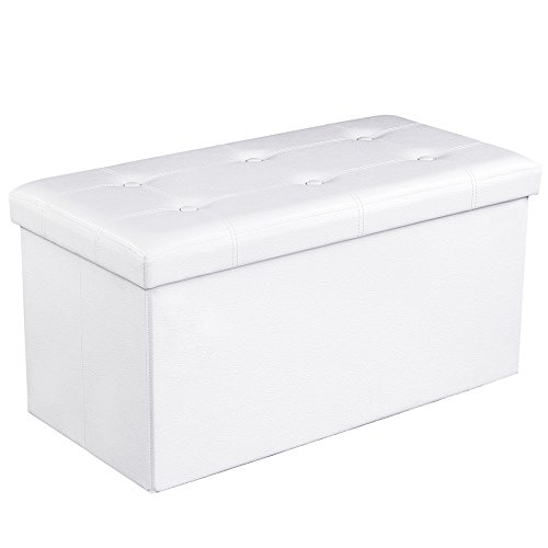 SONGMICS 30 Inches Faux Leather Folding Storage Ottoman Bench, Storage Chest Footrest Coffee Table Padded Seat, White