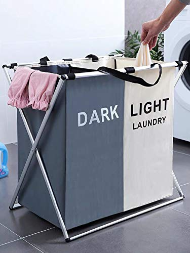 FENGLE 125L Laundry Basket Clothes Hamper Organizer Sorter Storage Foldable 2 Sections Dark & Light Hampers with Aluminum Frame (24x 15x 23 inches) Washing Dirty Cloth Bag for Bathroom Bedroom Garage