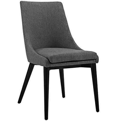 Modway Viscount Mid-Century Modern Upholstered Fabric Kitchen and Dining Room Chair in Gray