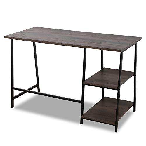 Sekey Home Industrial Writing Computer Desk with 2 Storage Shelves,Stable Metal Frame, Sturdy and Easy Assembly, Smoky Oak