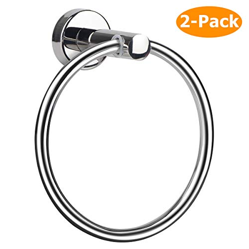 Towel Ring, Hand Towel Holder Ring Hanger for Bathroom Kitchen, Round Towel Rack Hook Rings with Wall Mounted Hardware, Silver Rustproof Polished 304 (Towel Ring (2 Pack, Drill Needed))