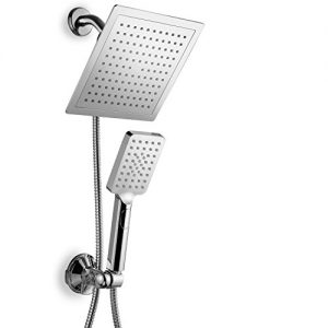 "DreamSpa Hotel Spa Ultra-Luxury 9"" Square Rainfall Shower Head / Handheld Combo. Convenient Push-Button Flow Control for easy one-hand operation. Switch flow settings with same hand! Premium Chrome."