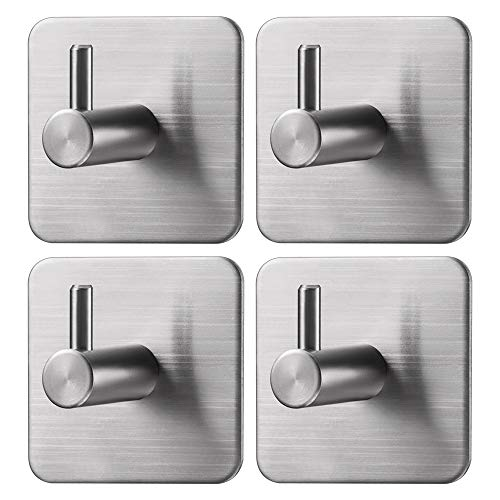 Jekoo Adhesive Hooks, Wall Hanger Towel Hooks Heavy Duty Hooks for Hanging Ideal for Bathroom Shower Kitchen Home Door Closet Cabinet Stainless Steel - 4Packs