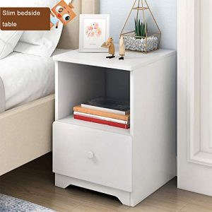 Nightstand with Drawer - Bedside Furniture & Night Stand End Table Dresser for Home, Bedroom Accessories, Office Assemble Storage Cabinet (White)