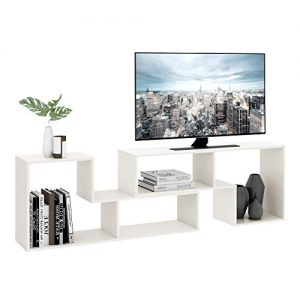 "DEVAISE TV Console Stand, Modern Entertainment Center Media Stand, TV Table Storage Bookcase Shelf for Living Room, 0.59"" Thick, White"